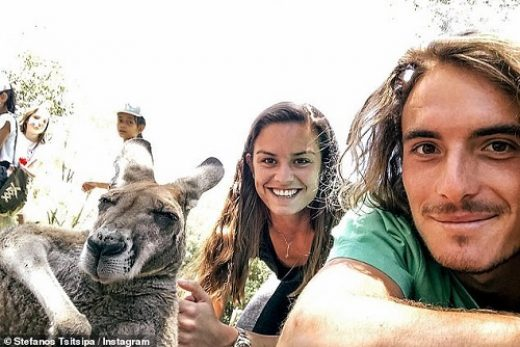Stefanos Tsitsipas with girlfriend at australia open